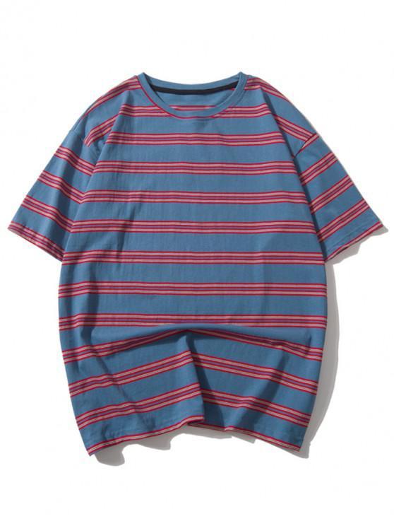 new Striped Print Casual Drop Shoulder T-shirt - MULTI-A L
