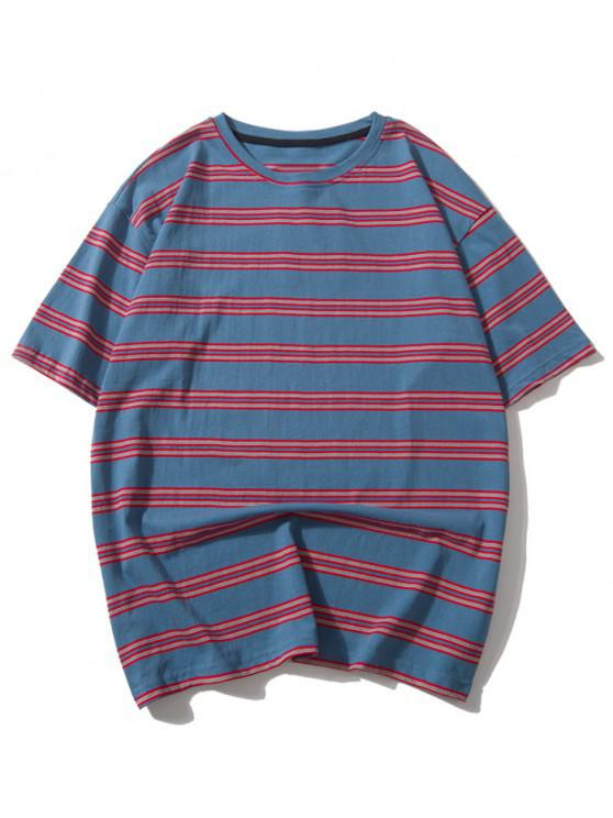 outfit Striped Print Casual Drop Shoulder T-shirt - MULTI-A 2XL