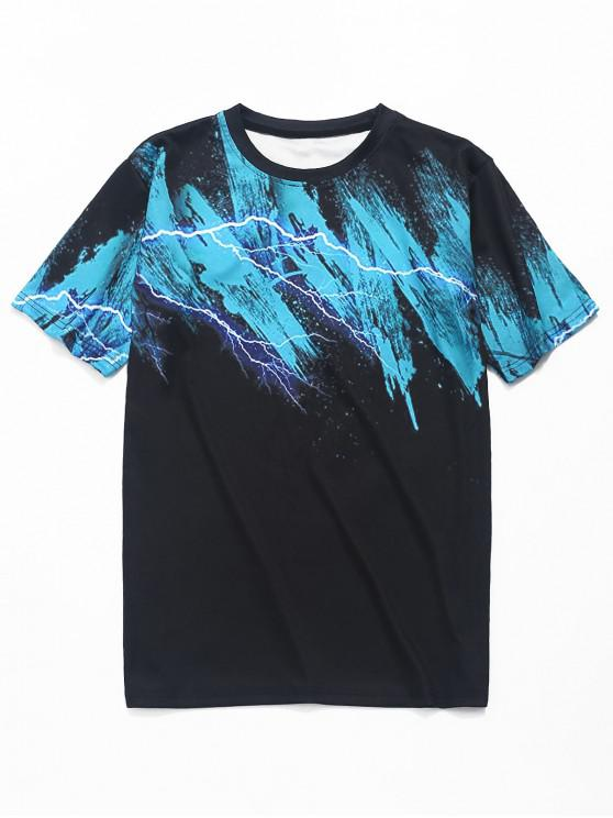 trendy Fulmination Painting Print Short Sleeves T-shirt - BLACK 2XL