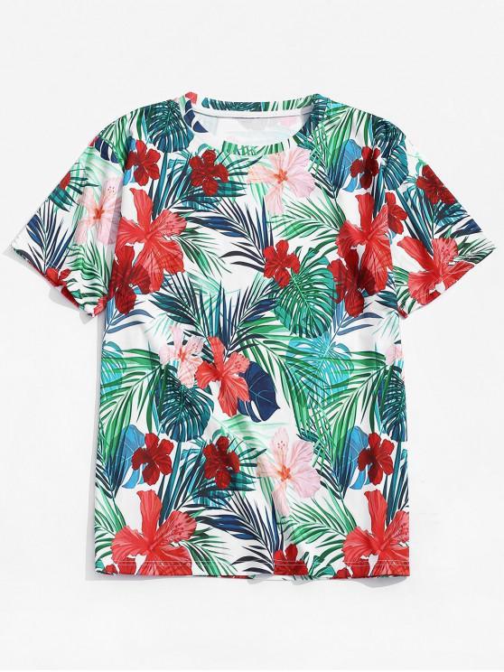 Camiseta tropical de la playa del diseño floral de la hoja - Multicolor S