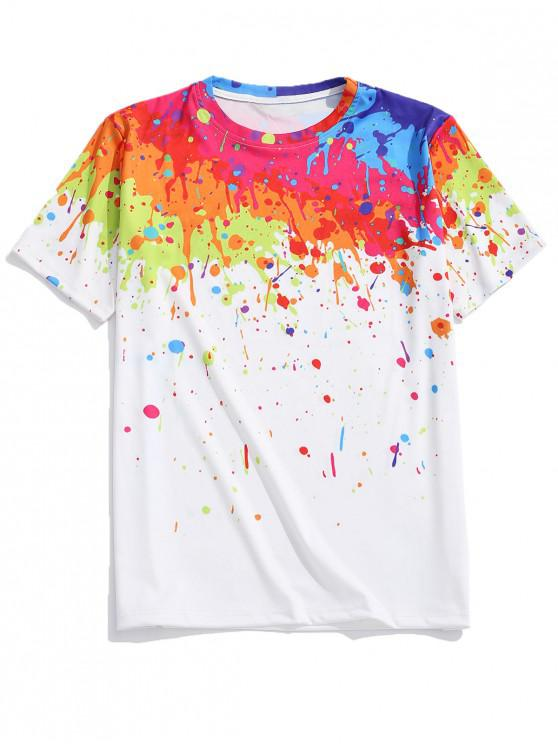 hot Splash Painting Print Short Sleeves T-shirt - MULTI 2XL