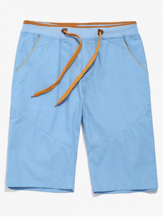 Shorts elásticos con cordón de color en contraste - Azul Claro XS