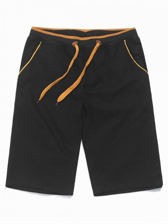 Shorts elásticos con cordón de color en contraste - Negro M