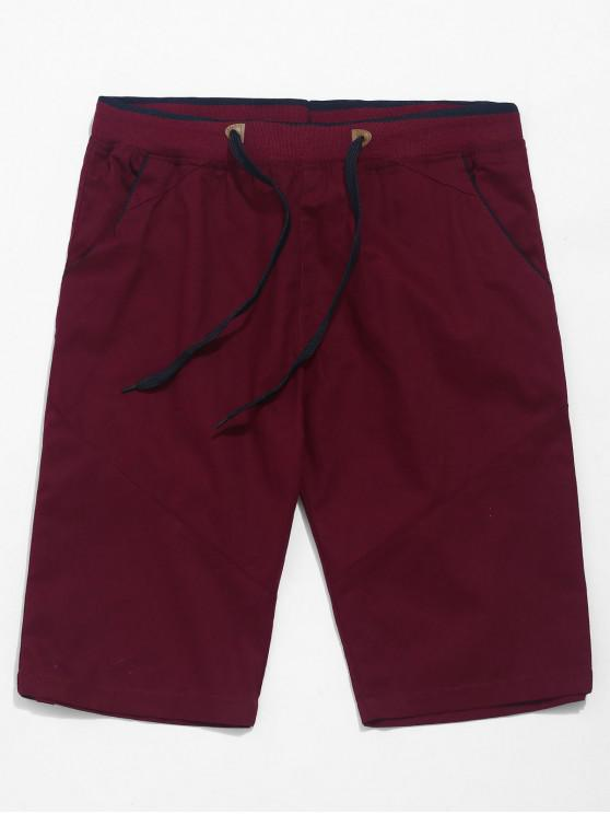 fashion Contrast Color Drawstring Elastic Shorts - RED WINE M
