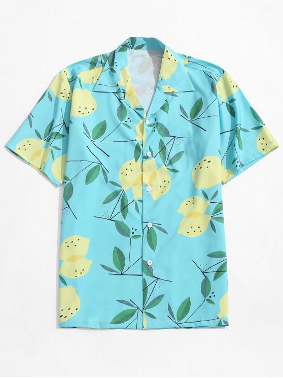 chic Fruit Print Casual Beach Shirt - MACAW BLUE GREEN S