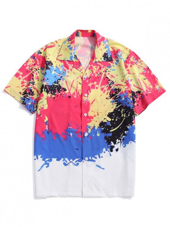 online Splash Painting Print Short Sleeves Shirt - MULTI L