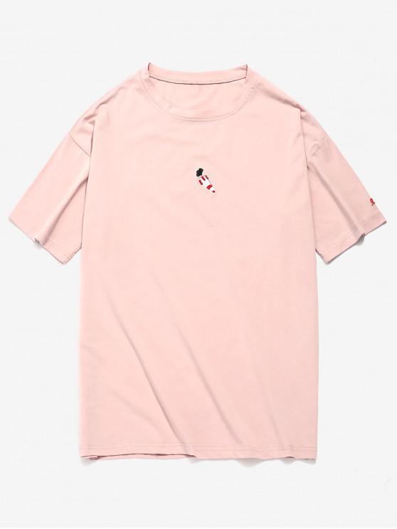 T-shirt Motif de Lettre Brodée Design - Rose Cochon M