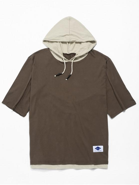 womens Applique Color Block Panel Hooded T-shirt - COFFEE 2XL