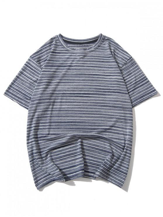 T-shirt Décontracté Rayé Imprimé - Gris Foncé M