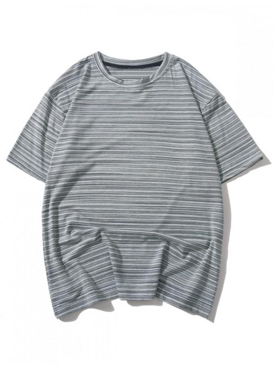 affordable Stripes Printed Casual T-shirt - LIGHT GRAY 2XL