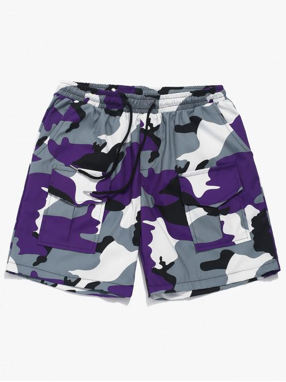 shop Elastic Camouflage Print Casual Shorts - PURPLE L