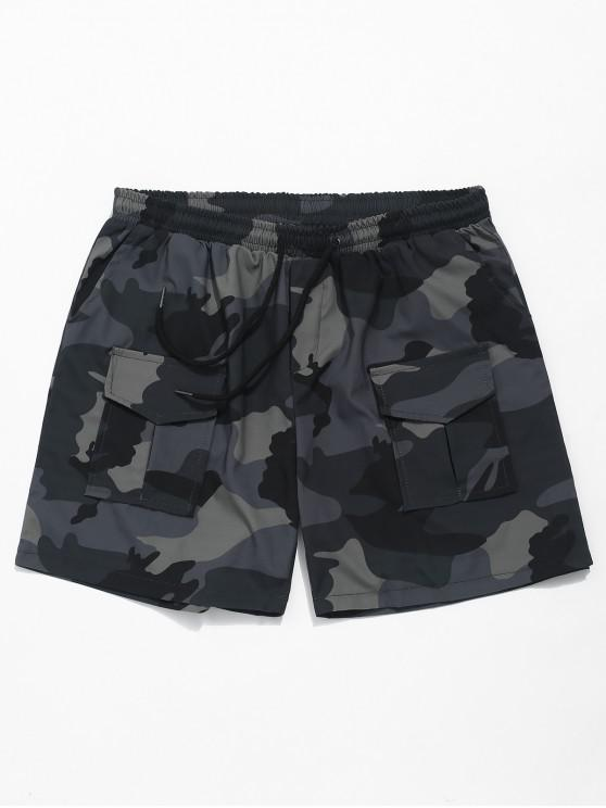 womens Elastic Camouflage Print Casual Shorts - GRAY XL