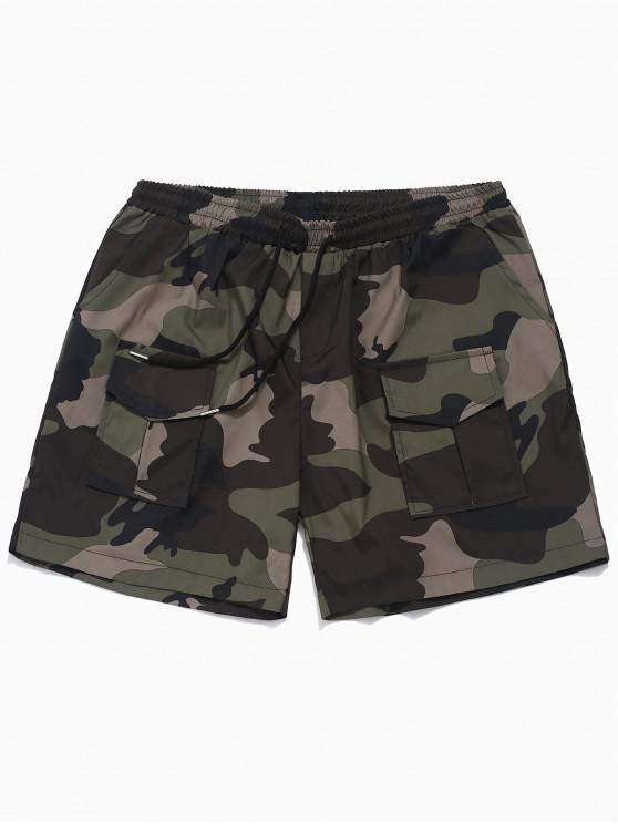 Pantalones cortos casuales con estampado de camuflaje elástico - Verde XS