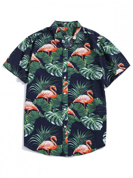 shops Tropical Leaf Flamingo Print Hawaii Board Shirt - DARK GREEN 2XL