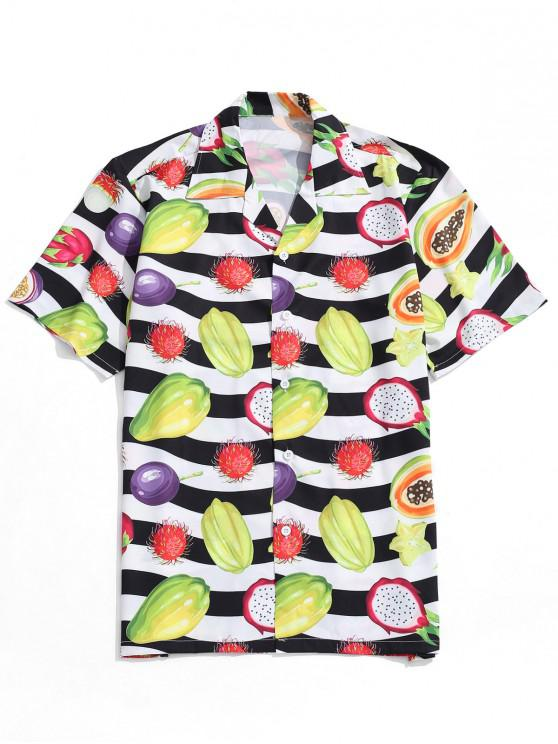 trendy Fruit Striped Print Beach Shirt - MULTI XL