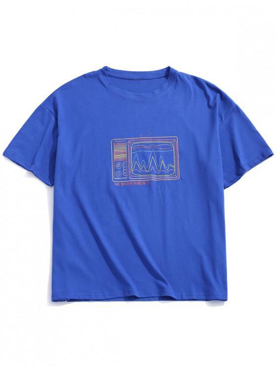 Camiseta retro con estampado de televisor antiguo, camiseta con hombros caídos - Azul M