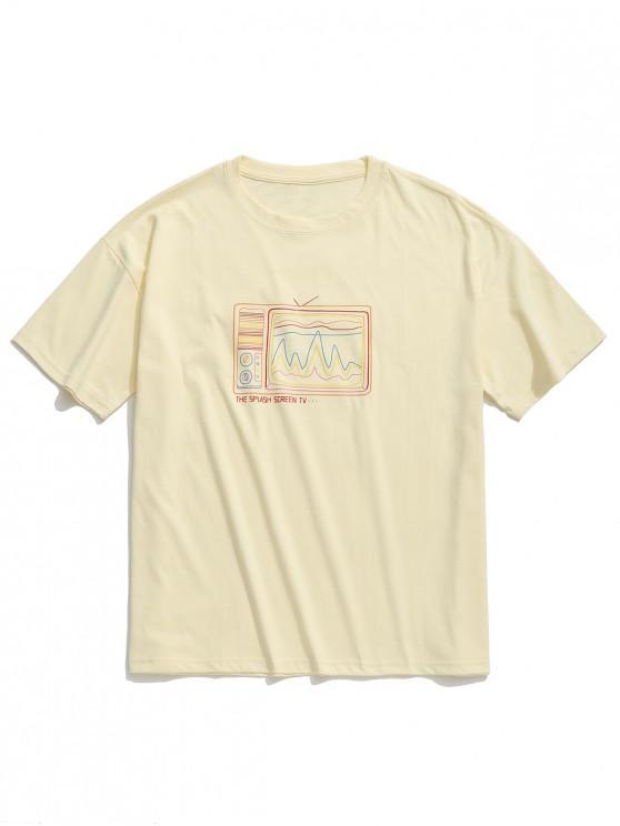Camiseta retro con estampado de televisor antiguo, camiseta con hombros caídos - Albaricoque XL