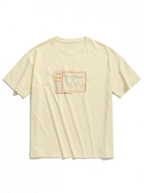 fashion Retro Old Screen TV Print Drop Shoulder T-shirt - APRICOT 2XL
