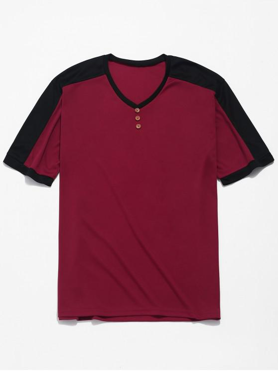 buy Color Block Panel Button Design Casual T-shirt - RED WINE 3XL