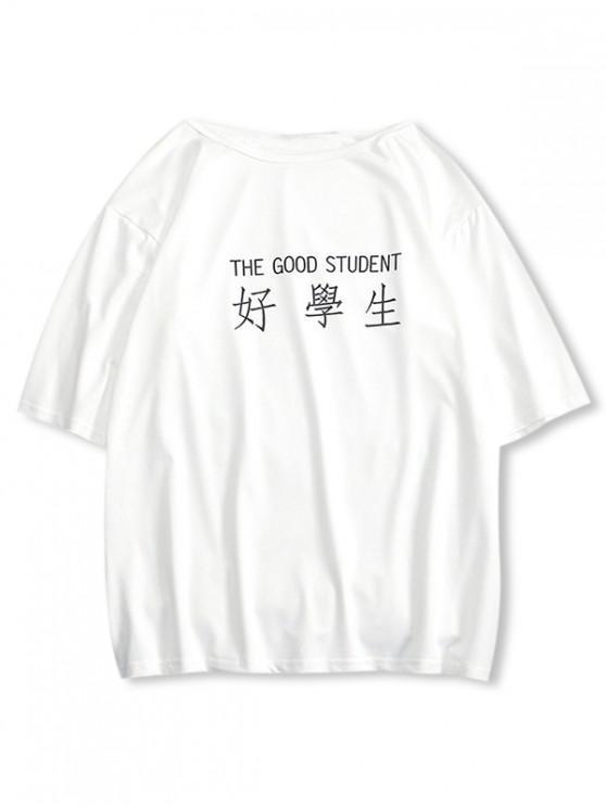 T-shirt Décontracté Lettre Design à Goutte Epaule - Blanc Lait S