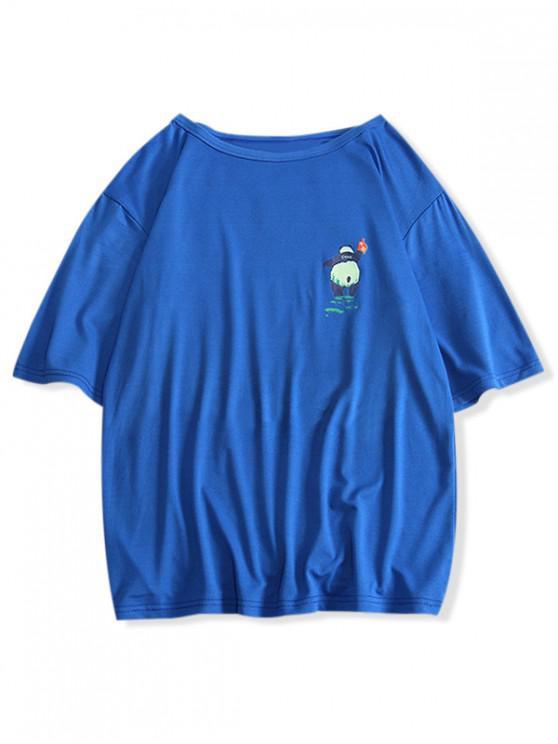 shops Panda Print Round Neck T-shirt - DENIM DARK BLUE S
