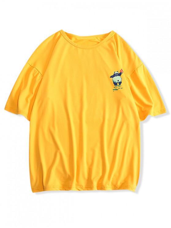 Pandadruck-Rundhals-T-Shirt - Goldrute XS