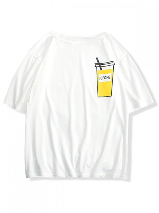 affordable Drink Print Drop Shoulder T-shirt - MILK WHITE S