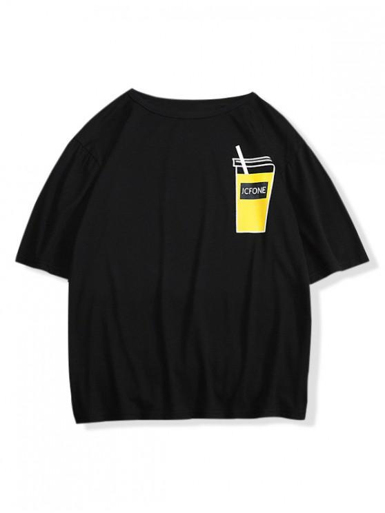 womens Drink Print Drop Shoulder T-shirt - BLACK S