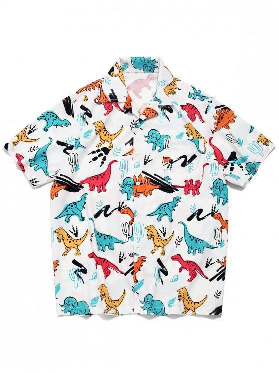 buy Dinosaur Plant Print Short Sleeves Shirt - WHITE L