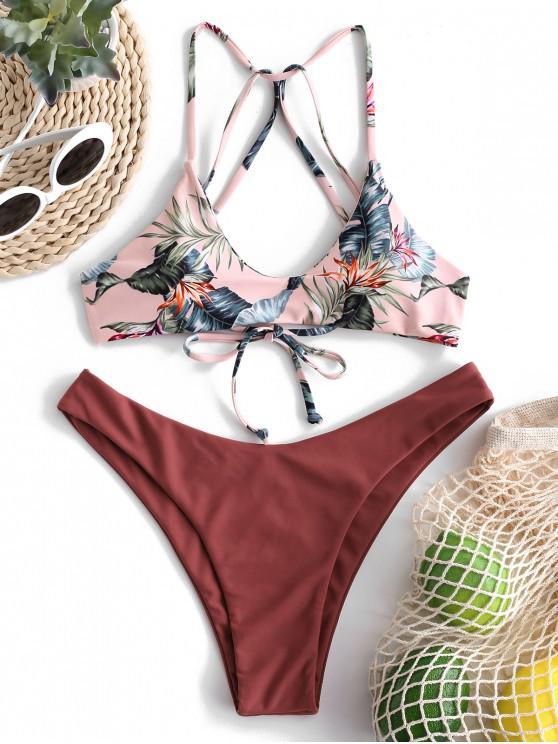 buy ZAFUL Floral Strappy Mix and Match Bikini Set - CHESTNUT L