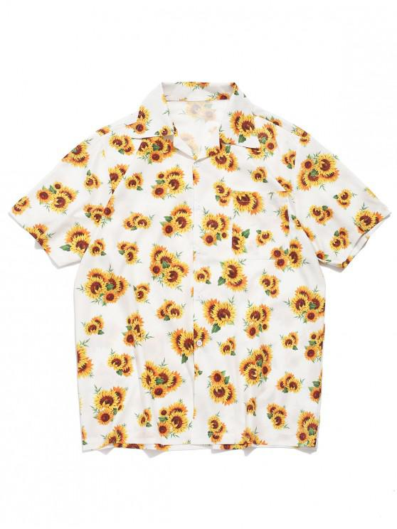 outfits Sunflower Allover Print Short Sleeves Shirt - WHITE L