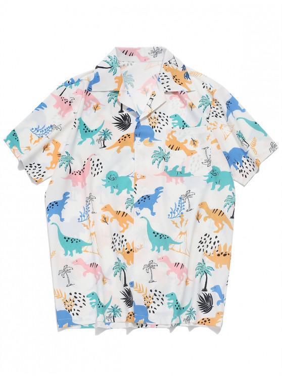Dinosaurier-Pflanzendruck- Ärmel- Shirt - Weiß L