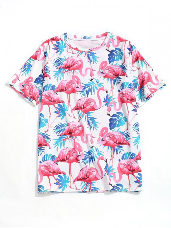 women Tropical Leaf Flamingo Print Beach T-shirt - MULTI XL