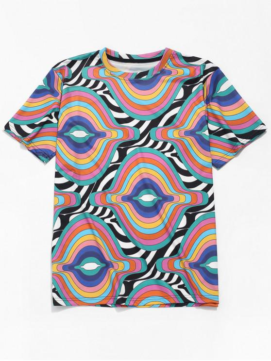 latest Stripes Irregular Wave Print Short Sleeves T-shirt - MULTI L