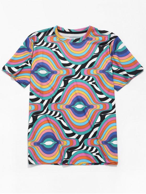 trendy Stripes Irregular Wave Print Short Sleeves T-shirt - MULTI XL