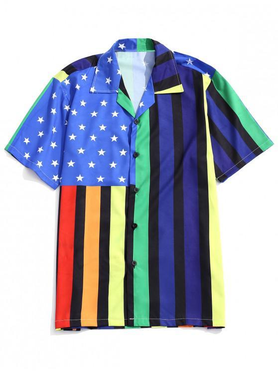 women Striped American Flag Print Beach Shirt - MULTI XL