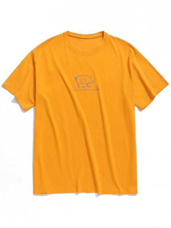 Camiseta de manga corta con estampado de carta de cerdo - Amarillo 2XL