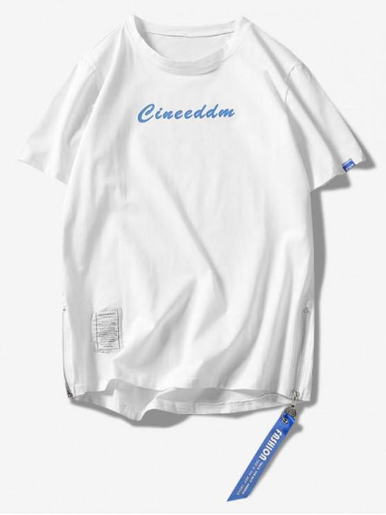 T-shirt asymétrique à fermeture éclair - Blanc XL