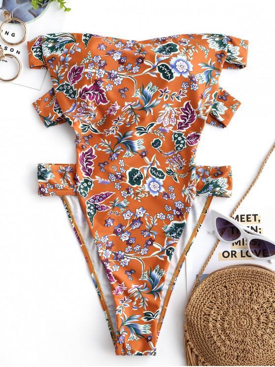 online ZAFUL Bohemian Floral High Leg Bandeau Swimsuit - MULTI-A L