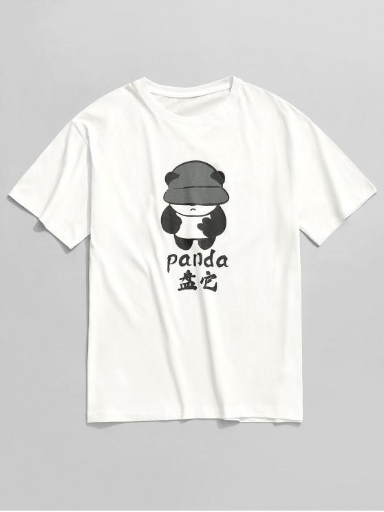Camiseta de manga corta con estampado de pata de panda - Blanco 2XL