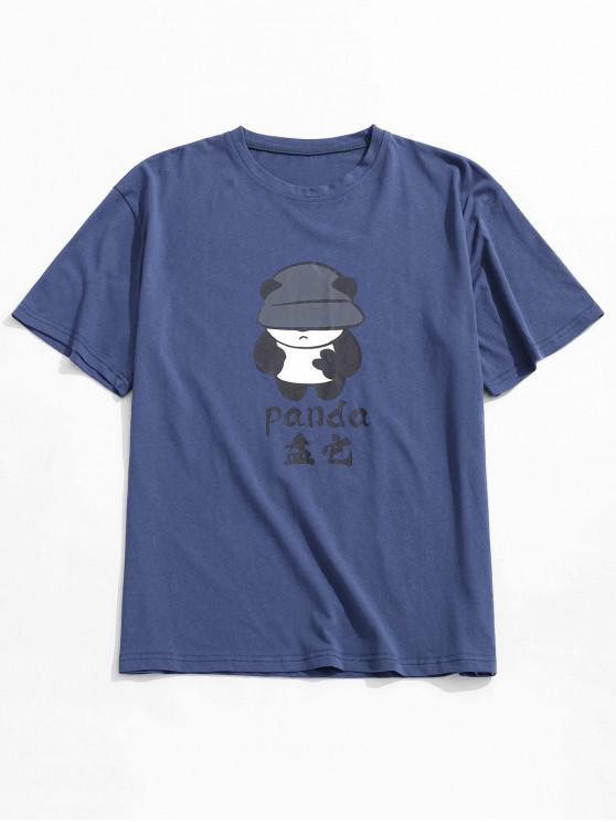 ladies Panda Patter Print Short Sleeves T-shirt - DEEP BLUE M