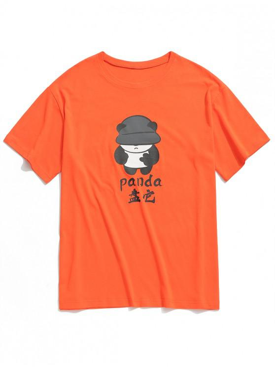 Camiseta de manga corta con estampado de pata de panda - Naranja 2XL