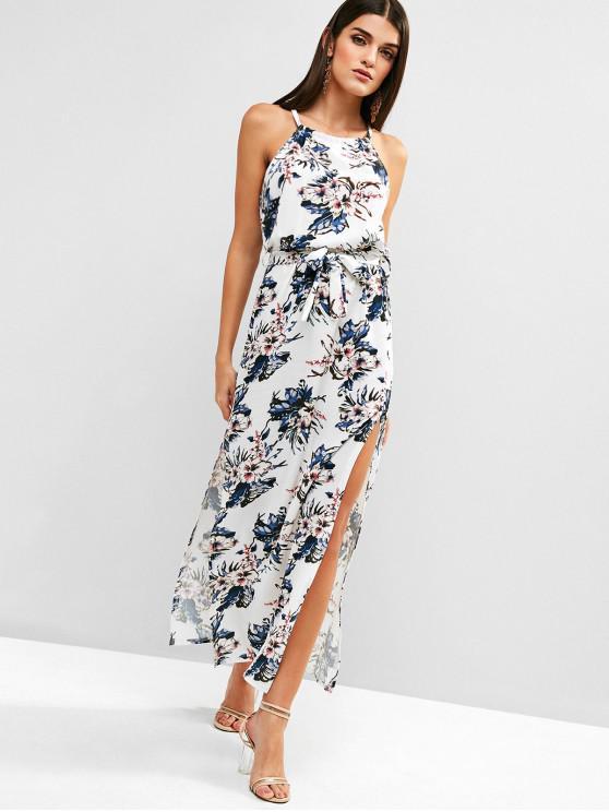 lady Belted Floral Slit Maxi Dress - MULTI L