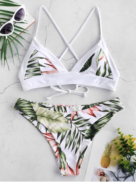 Bikini Cruzada con Estampado de Hojas Tropicales de ZAFUL - Multicolor-A M