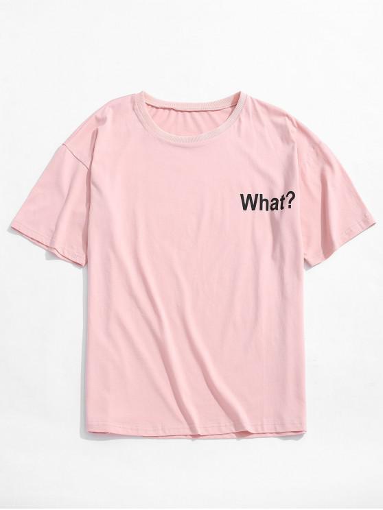 Camiseta con estampado de letras, hombro caído - Rosado M