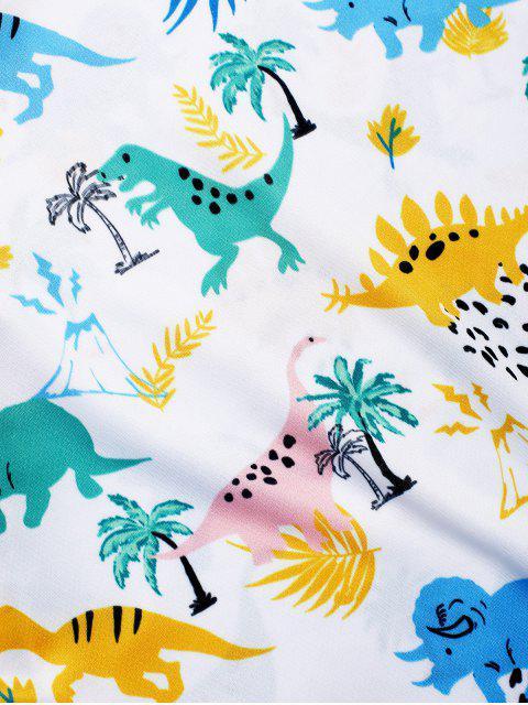 Camiseta de manga corta con estampado de planta de dinosaurio - Blanco M Mobile