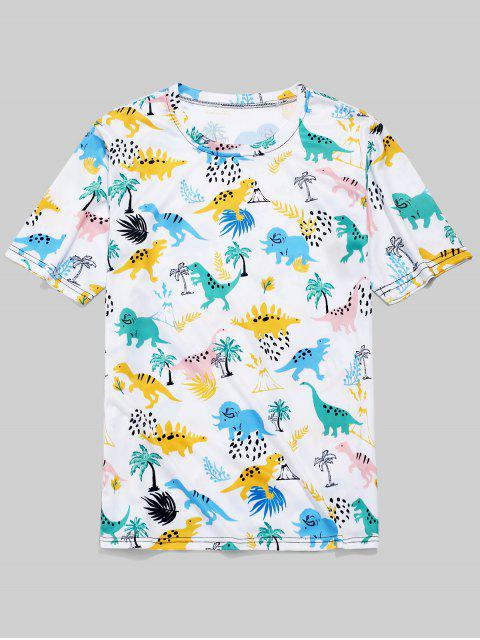 Camiseta de manga corta con estampado de planta de dinosaurio - Blanco 2XL Mobile