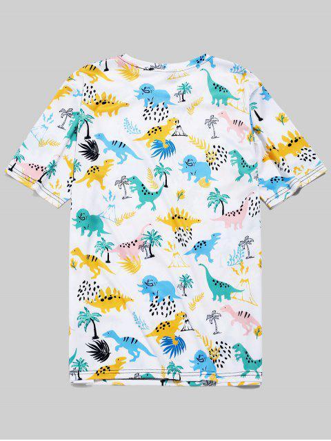 Camiseta de manga corta con estampado de planta de dinosaurio - Blanco 4XL Mobile