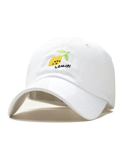 fashion Lemon Embroidery Baseball Cap - WHITE  Mobile