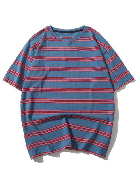 Camiseta Casual Rayada Hombro Caída - Multicolor-A L Mobile